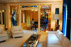 Elvis Presley`s living room in Granceland. Elvis Presley`s living room in his Graceland home is decorated the same as it was in the 1970s stock photography