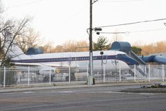 Elvis Presley`s private plane, the Lisa Marie, at Graceland. MARCH 22, 2019 - MEMPHIS, TENNESSEE, USA:  Elvis Presley`s private plane, the Lisa Marie, at stock photo