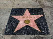 Elvis Presley`s Star, Hollywood Walk of Fame - August 11th, 2017 - Hollywood Boulevard, Los Angeles, California, CA royalty free stock photo