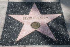 Elvis Presley star. The star of Elvis Presley star on Hollywood Walk of Fame, in Hollywood, California. This star is located on Hollywood Blvd Royalty Free Stock Image