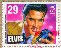 Elvis Presley. UNITED STATES - CIRCA 1992: stamp printed by United states, shows Elvis Presley, circa 1992 Royalty Free Stock Photography
