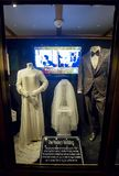 Elvis And Priscilla Presley Wedding Dress And Tuxedo. On Display At Graceland royalty free stock photography