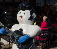 Elvis snowman outside cafe Stock Image