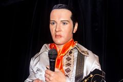 Elvis - The King , wax statue. Elvis , wax statuea t Prague Madame Tussaud`s Museum, Czech Republic stock image