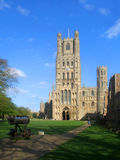 Ely cathedral. Nr Cambridge, The cannon is a booty from the Crimean war late 19th centurey Stock Image