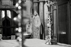 Ely Cathedral. Virgin mary Statue within Ely Cathedral stock images