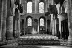 Ely Cathedral. Beautiful Stained Glass Windows and Chairs inside Ely Cathedral stock images