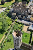 ELY, UK - MAY 26, 2017: Aerial view of the Bishop of Ely with a turret in the foreground - picture taken from the top of the West Royalty Free Stock Image
