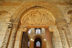 Prior`s door inside the Cathedral, with its famous Norman carvings dating from around 1135. ELY, UK - OCTOBER 20, 2018: Prior`s door inside the Cathedral, with stock images
