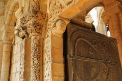 Prior`s door inside the Cathedral, with its famous Norman carvings dating from around 1135. ELY, UK - OCTOBER 20, 2018: Prior`s door inside the Cathedral, with stock photo