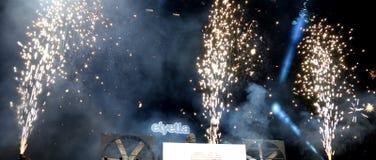 Elyella Djs w koncercie przy kłamstewko festiwalem (elektroniczny zespół) Zdjęcia Royalty Free