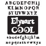 Elysart Cool font. Vector alphabet set. ABC stock illustration