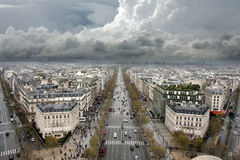 Elysian fields. Seen from the arch of triumph stock photos