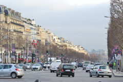 The Elysian Fields. PARIS, FRANCE - JANUARY 7, 2013: The Elysian Fields, Champs-Elesees in Paris stock image
