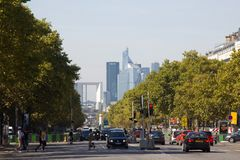 Elysian fields, the street and the passers-by. France, Paris - 24 September 2017: Elysian fields, the street transport and the passers-by, La Défense in the stock images