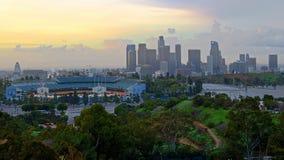 Elysian park California. Fierysky clouds cityscape stock image