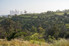 Elysian Park and Los Angeles skyline. The Los Angeles skyline from Elysian Park in California stock photography