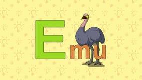 Emú Alfabeto inglés del PARQUE ZOOLÓGICO - letra E stock de ilustración