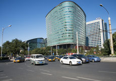 Em Ásia, em China, em Pequim, em construção e em tráfego, Fotos de Stock Royalty Free