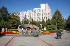 Em Ásia, o Pequim, chinês, escultura, torch Fotos de Stock