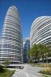 Em Ásia, Pequim, China, arquitetura moderna, SOHO de Wangjing foto de stock