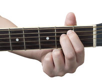 Em хорды гитары при белая изолированная предпосылка Стоковое Изображение