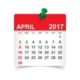 Em abril de 2017 calendário Fotografia de Stock