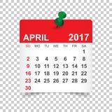 Em abril de 2017 calendário Fotos de Stock Royalty Free
