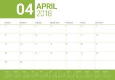 Em abril de 2018 ilustração do vetor do planejador do calendário Foto de Stock