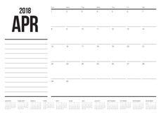 Em abril de 2018 ilustração do vetor do planejador do calendário Foto de Stock Royalty Free