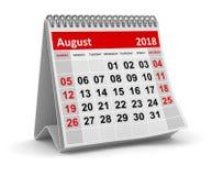 Em agosto de 2018 - calendário ilustração royalty free