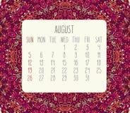 Em agosto de 2018 calendário ilustração royalty free