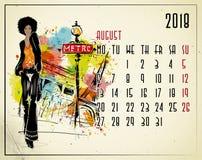 Em agosto de 2018 calendário europeu com menina da forma ilustração royalty free