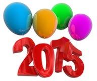 2015 em balões (trajeto de grampeamento incluído) Imagens de Stock Royalty Free