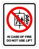 Em caso do fogo não use o sinal do símbolo do elevador, ilustração do vetor, isolado na etiqueta branca do fundo EPS10 ilustração stock