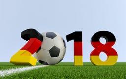 2018 em cores alemãs da bandeira em um campo de futebol Uma bola de futebol que representa o 0 em 2018 ilustração stock