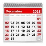 Em dezembro de 2018 - calendário ilustração stock