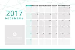 Em dezembro de 2017 calendário ilustração do vetor