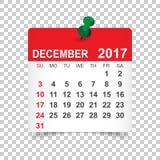 Em dezembro de 2017 calendário Imagens de Stock Royalty Free