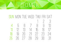 Em dezembro de 2016 calendário mensal ilustração stock