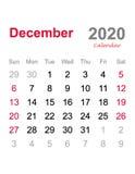 Em dezembro de 2020 calendário - molde mensal do calendário - calendário 2020 mensal ilustração do vetor