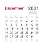 Em dezembro de 2021 calend?rio - molde mensal do calend?rio - calend?rio 2021 mensal ilustração royalty free