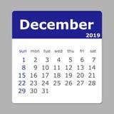 Em dezembro de 2019 calendário A semana começa domingo ilustração royalty free