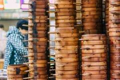 22, em dezembro de 2015, Chong que qing, coluna de cestas do navio de Dim Sum, a fotografia de stock