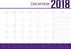 Em dezembro de 2018 ilustração do vetor do calendário do planejador ilustração royalty free