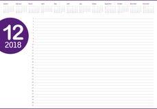 Em dezembro de 2018 ilustração do vetor do calendário do planejador ilustração do vetor