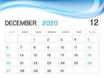 EM DEZEMBRO DE 2020 molde do ano, vetor 2020, projeto do calendário de mesa, começo do calendário da semana em domingo, planej ilustração stock