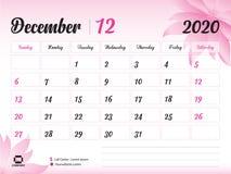 Em dezembro de 2020 molde do ano, vetor 2020, projeto do calendário de mesa, conceito cor-de-rosa para cosméticos, beleza da flor ilustração stock
