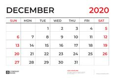 EM DEZEMBRO DE 2020 molde do calendário, tamanho 9 da disposição de calendário da mesa 5 x 6 5 polegadas, projeto do planejador,  ilustração do vetor