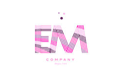 Em e m alphabet letter logo pink purple line icon template vecto. Em e m alphabet letter logo pink purple line font creative text dots company vector icon design Royalty Free Stock Image